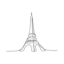 Paris Eiffel Tower Hand Drawn Vector Illustration Continuous Line Art Single Drawing Isolated On White Background
