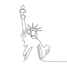 Continuous Line Drawing Of Liberty Statue Isolated One White Background Vector Illustration