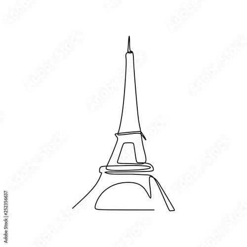 Wieża Eiffla w Paryżu ciągłego rysowania linii wektorowych ilustracji
