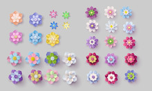 Set Of Colorful Paper Flowers .
