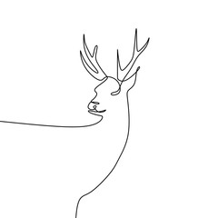 Deer continuous one line drawing vector illustration