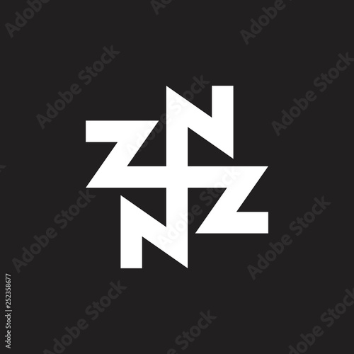 Foto  abstract letters zn circle geometric line logo vector