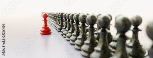 Fototapeta  Leadership concept, red pawn of chess, standing out from the crowd of blacks