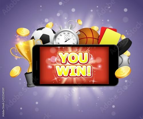 Canvas Winner sports betting vector poster banner design template