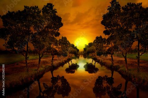 Garden Poster Brown sunset over lake