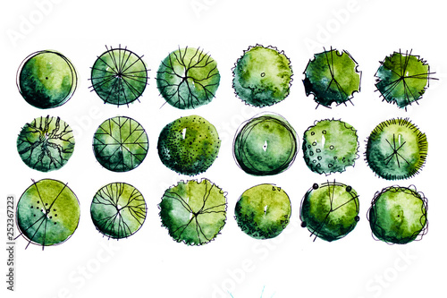 Symbols of Landscape architect plan design by watercolor hand drawn painting with brushes strokes Fototapeta