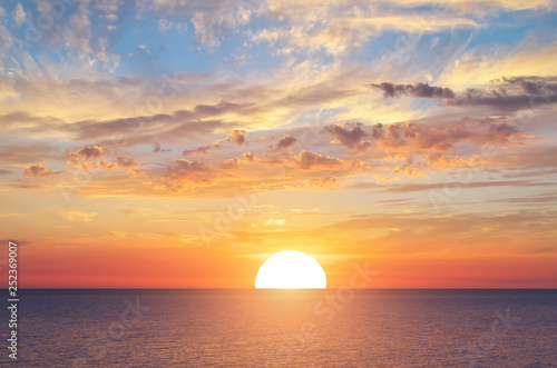 Fototapeta Summer sky background on sunset obraz
