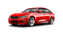 Red Luxury Sedan Car On White Background. Generic Vehicle Perspective View Illustration With Isolated Path.