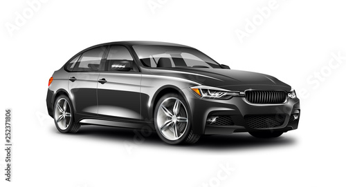 Black Luxury Sedan Car On White Background. Generic Vehicle Perspective View Illustration With Isolated Path.