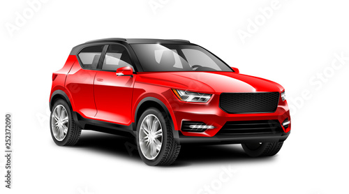 Red Generic SUV Car. Off Road Crossover On White Background With Isolated Path