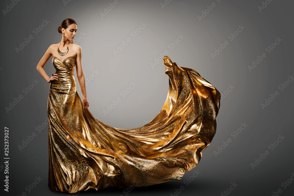 Fototapety, obrazy: Woman Gold Dress, Fashion Model in Long Waving Fluttering Gown, Young Girl Beauty Studio Portrait