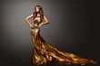 canvas print picture - Woman Gold Dress, Fashion Model Gown with Long Tail Train, Young Girl Beauty Portrait