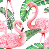 jungle palm leaf and flamingo seamless pattern,colored pencil drawing techniques,illustration - 252373095