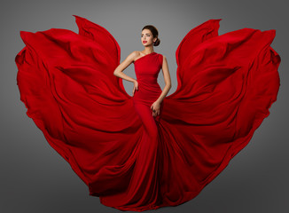Woman Red Dress, Fashion Model in Long Silk Waving Gown Wings, Flying Fluttering Fabric