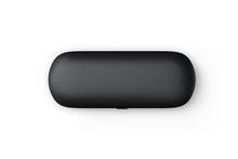 Closed Black Glasses Case Mock-up Isolated On White Background.3d Illustration.