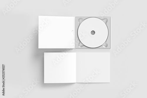 Obraz CD disc and carton packaging cover template mock up. Digipak case of cardboard CD drive. With white blank for branding design or text. isolated on soft gray background.High resolution 3d illustration. - fototapety do salonu