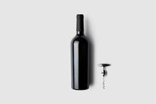 Red Wine Bottle And Corkscrew On Soft Gray Background.3D Illustration