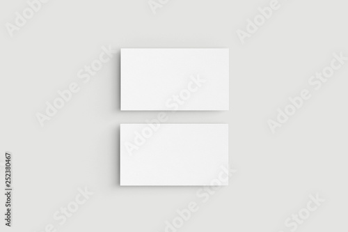 Valokuvatapetti Two horizontal business cards on white background.Mockup
