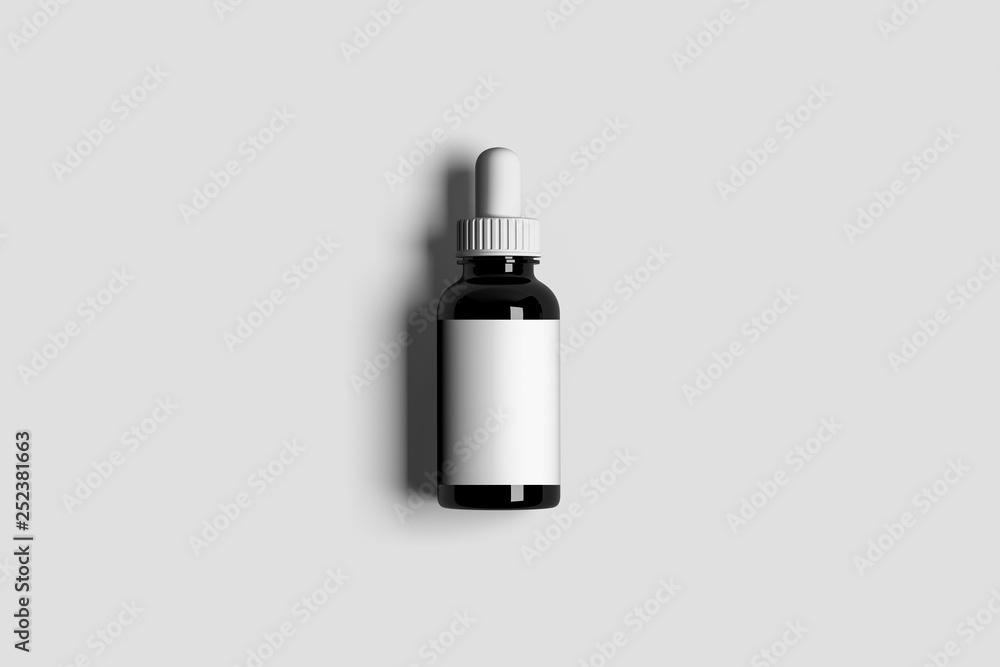 Fototapety, obrazy: Glass Bottle Mock up container with Dropper. Dropper Bottle Mock-Up - Blank Label. 3D rendering
