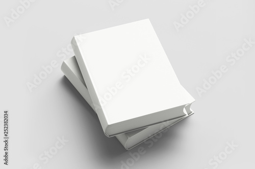 Template Book Mock up isolated on soft gray background,Real photo, blank book, brochure, booklet, hard cover and soft cover Canvas Print