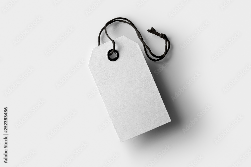 Fototapety, obrazy: Blank paper label or cloth tags Mock-up isolated on soft gray background.