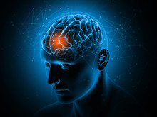 3D Medical Background With Brain Highlighted