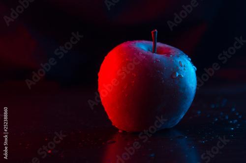 Fototapeta One apple on the table. Neon light. obraz