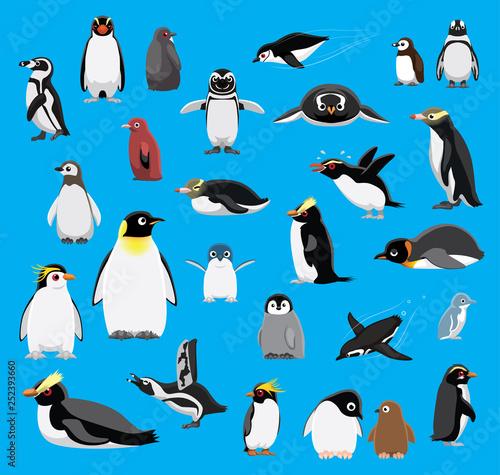 Obraz na plátně Various Penguin Cartoon Blue Background Vector Illustration