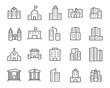 Leinwanddruck Bild - set of buiding icons, such as city, apartment, condominium, town