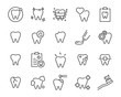 Leinwanddruck Bild - set of teeth icons, such as dental, tooth, brush, mouth, oral, pain