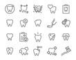 Leinwandbild Motiv set of teeth icons, such as dental, tooth, brush, mouth, oral, pain