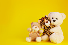 Two Toy Bear And A Toy Leopard