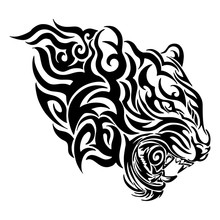 Tiger Head Roar Tribal Tattoo With Fire Concept Vector With White Background