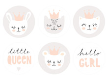 Set Of Lovely Baby Girl Party Vector Decoration. 6 Round Shape Candy Bar Toppers. Bunny, Cats And Teddy Bear Wearing Pink Crown. Sweet Nursery Art. Cute Pastel Color Infantile Party Tags For Kids.