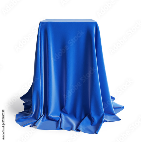 Fotografía  Empty podium  covered with blue silk cloth
