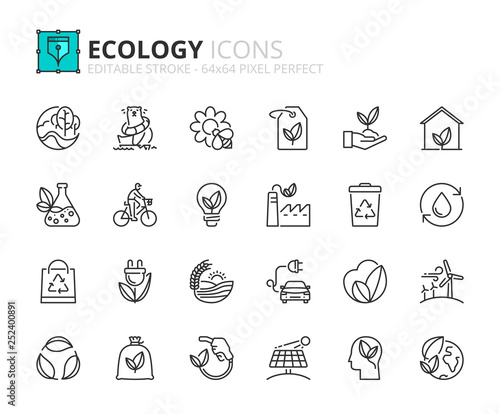 Outline icons about ecology Canvas-taulu