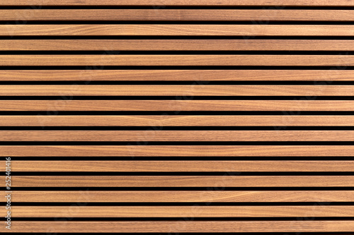 Obraz Wooden slats. Natural wood lath line arrange pattern texture background  - fototapety do salonu