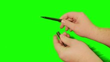 2163 Writing With Pen With Green Screen 4K
