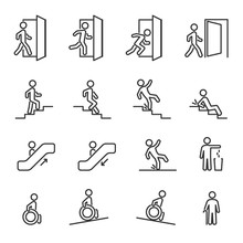 Vector Set Of People Navigation Line Icons.