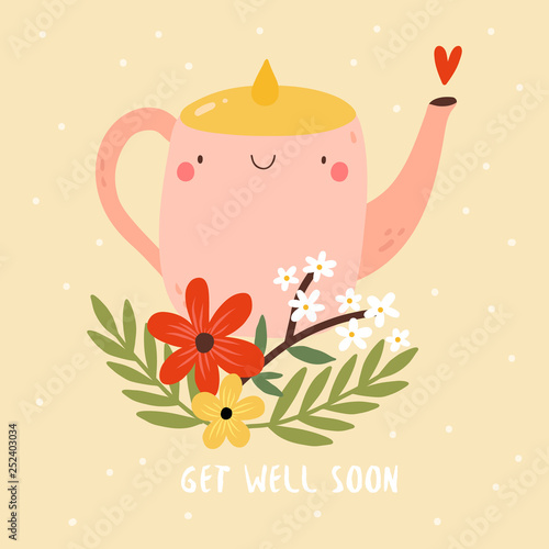 Get Well Soon - cute illustration with smiley Tea Pot and Flowers Tapéta, Fotótapéta