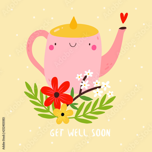 Get Well Soon - cute vector illustration with smiley Tea Pot and Flowers Canvas-taulu