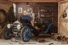 Retro Car In The Garage For Repairs