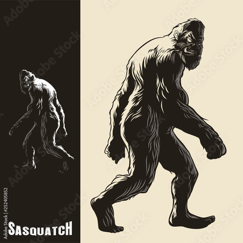 Obraz na plátně Sasquatch monkey gorilla walking