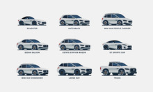 Set Of Nine Clean Illustrated Cars, Including Sedan, Suv, Hatchback, Estate, Sports Car, Truck And Mini Van