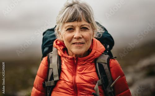 Fototapeta Portrait of a senior female hiker obraz