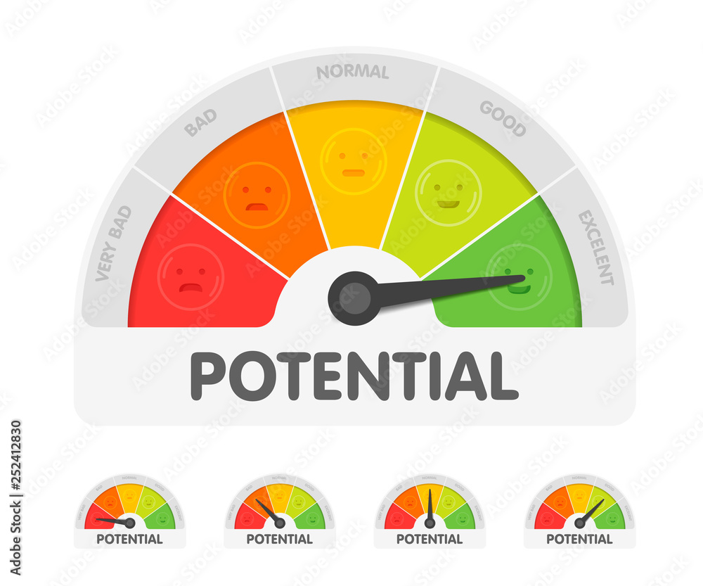 Fototapeta Potential meter with different emotions. Measuring gauge indicator vector illustration. Black arrow in coloured chart background