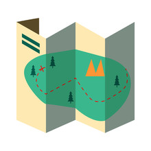 Paper Map. Route, Itinerary, Trail, Hiking. Tourism Concept. Vector Illustration Can Be Used For Topics Like Camping, Trekking, Navigation Guide