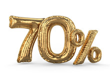 Golden Seventy Percent Made Of Inflatable Balloons. Percent Set. 3D
