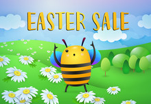 Easter Sale Lettering With Bee Cartoon Character On Lawn. Easter Offer Advertising Design. Typed Text, Calligraphy. For Leaflets, Brochures, Invitations, Posters Or Banners.