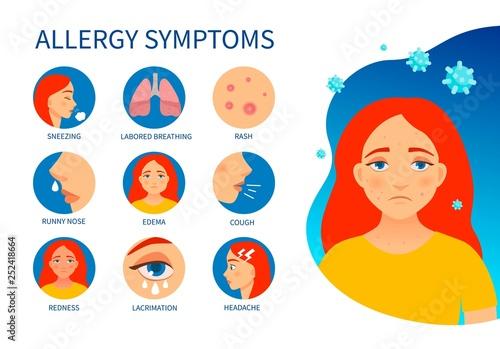 Photo Vector poster allergy symptoms